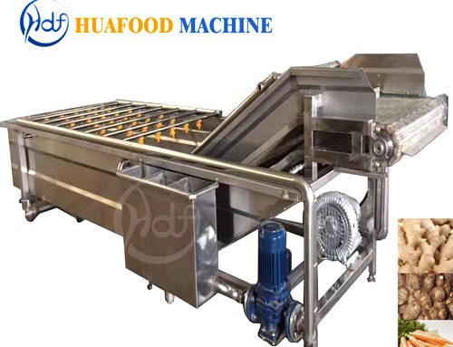 Continuous fruit and vegetable washing machine