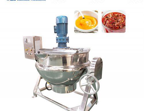 Stainless steel industrial cooking kettle electric steam gas heating agitator jacket kettle